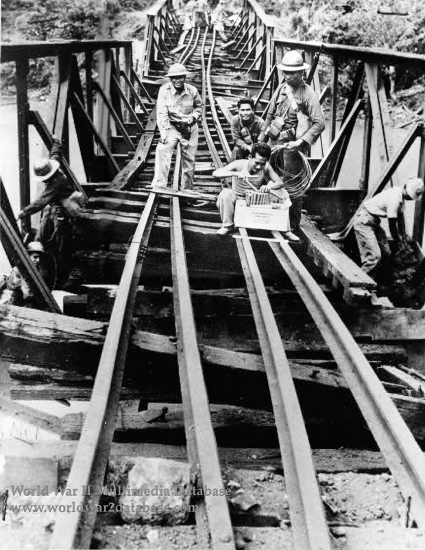 14th Engineers (Philippine Scouts) Wire Railroad Bridge For Demolition